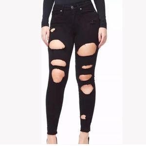 GOOD AMERICAN plus size Good Legs Ripped Raw Jeans
